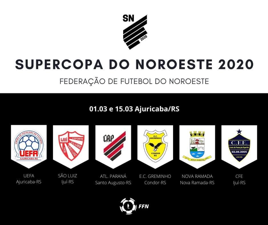 Conhecidas as equipes que vão disputar a Supercopa do Noroeste 2020